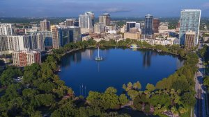 aerial shot of downtown Orlando