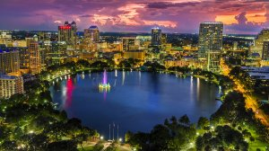 aerial photo of downtown Orlando at night